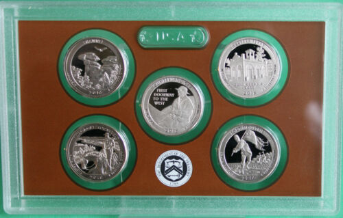 2016 US Mint America the Beautiful Quarters Proof ATB 5 Coin Set COIN ONLY