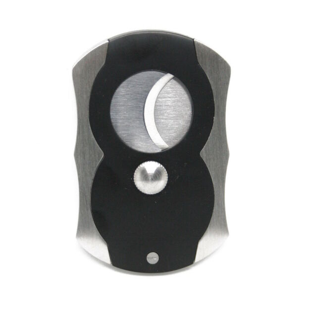 NEW Black and Stainless Steel Cigar Cutter 62mm Double Blade
