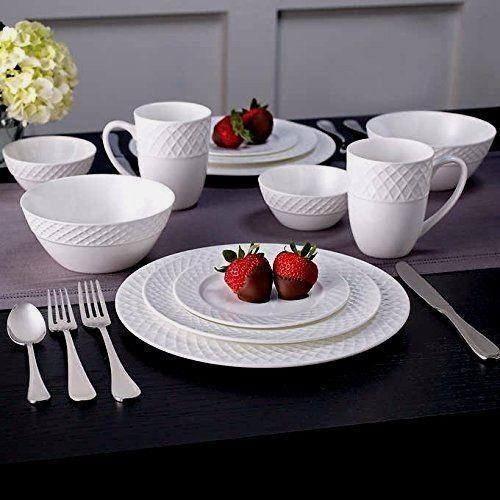 New Mikasa Trellis Swirl Bone Porcelain China 36 Piece Dinnerware Set - A & Mikasa Swirl White 36-pc Bone China Dinnerware Set Service for 6 | eBay