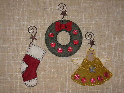 Penny Rug 3 Christmas Ornaments Set