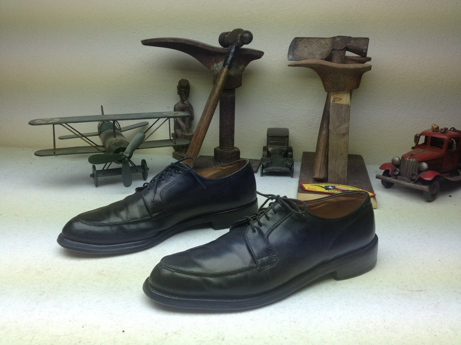 VINTAGE USA BLACK DISTRESSED LEATHER BOSS WEEKEN SATURDAY OXFORD SHOES 11E