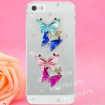 Shine Bling Clear Crystal Diamonds color lover butterflys Back hard Case Cover D