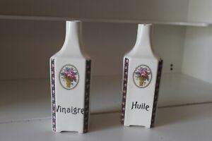 2 Anciens Pots A Huile Vinaigre - Old Vinegar Oil Pots - Ditmar Czechoslovakia Riche Et Magnifique