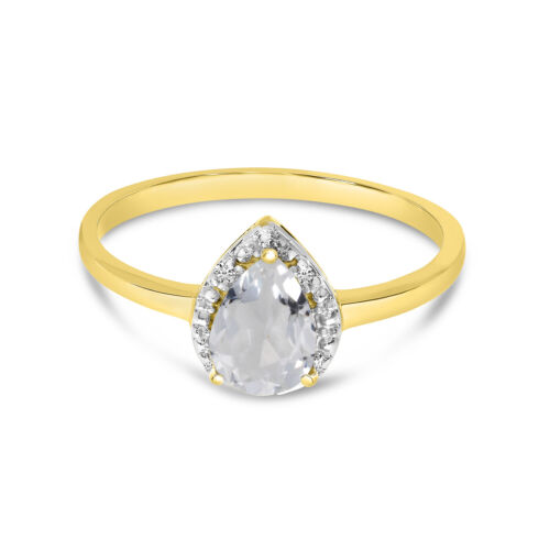Details about  /10k Yellow Gold Pear White Topaz And Diamond Ring