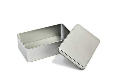 Aufbewahrungs-Dose Metalldose Blechdose mit Deckel 18 x 10,5 x 5,3 Silber