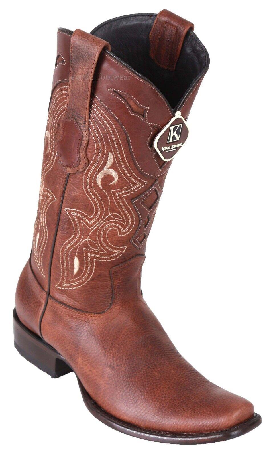 Para hombres cuero genuino del zurriago espeluznante Rey Exotic Western botas Puntera cuadrada de Dubai