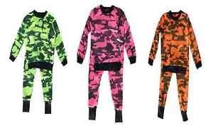 Girls Camouflage Fluorescent Loungewear Set Army Joggers Tracksuit Pants 2-13 Y