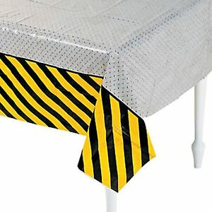 CONSTRUCTION PARTY Hazard Zone Table Cover Tablecloth 137cm x 274cm Free Postage