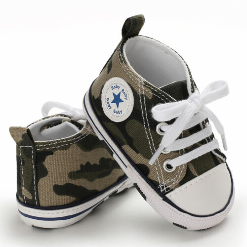 Newborn Baby Boy Girl Pram Shoes Infant Sneakers Camouflage Pre Walker Trainers