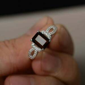 smoky quartz ring sterling silver engagement ring for her emerald cut
