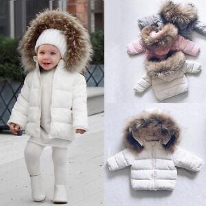 Toddler Kids Baby Boys Girls Winter, Black Coat With Fur Hood Children S