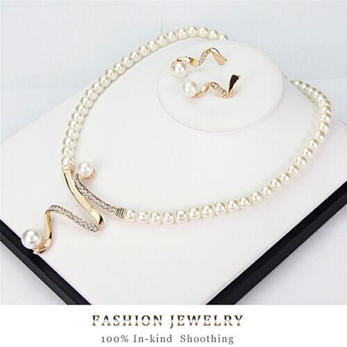 New Women Bridal Wedding Party Pearl Rhinestone Necklace Earrings Jewelry Set M/&