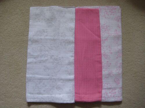 3 x Ex Chainstore mousseline carrés coton Bébé Tissu Rayures Floral