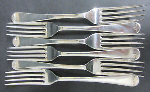 VINTAGE-SET-6-SILVER-PLATED-OLD-ENGLISH-PATTERN-DESSERT-FORKS-SLACK-amp-BARLOW
