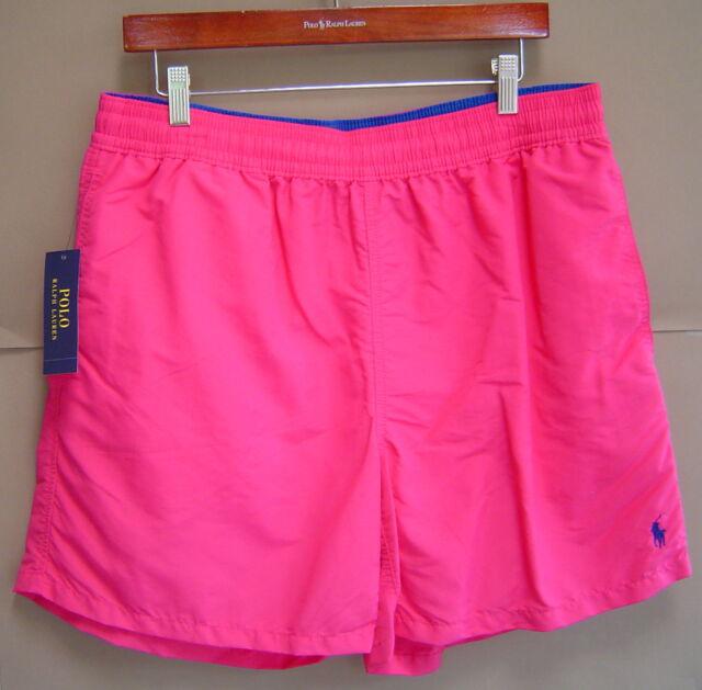 07bfe286 Polo Ralph Lauren Men XL Hawaiian Swim Boxer Trunks Grand Prix Pink Blue