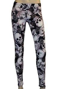 Gothic Skull Roses Floral Pattern Design Alternative All Over Printed Leggings Goth Punk Emo