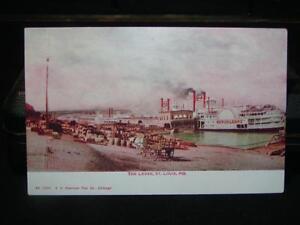 Sidewheel Steamboat Docks & Levee at St Louis MO postcard