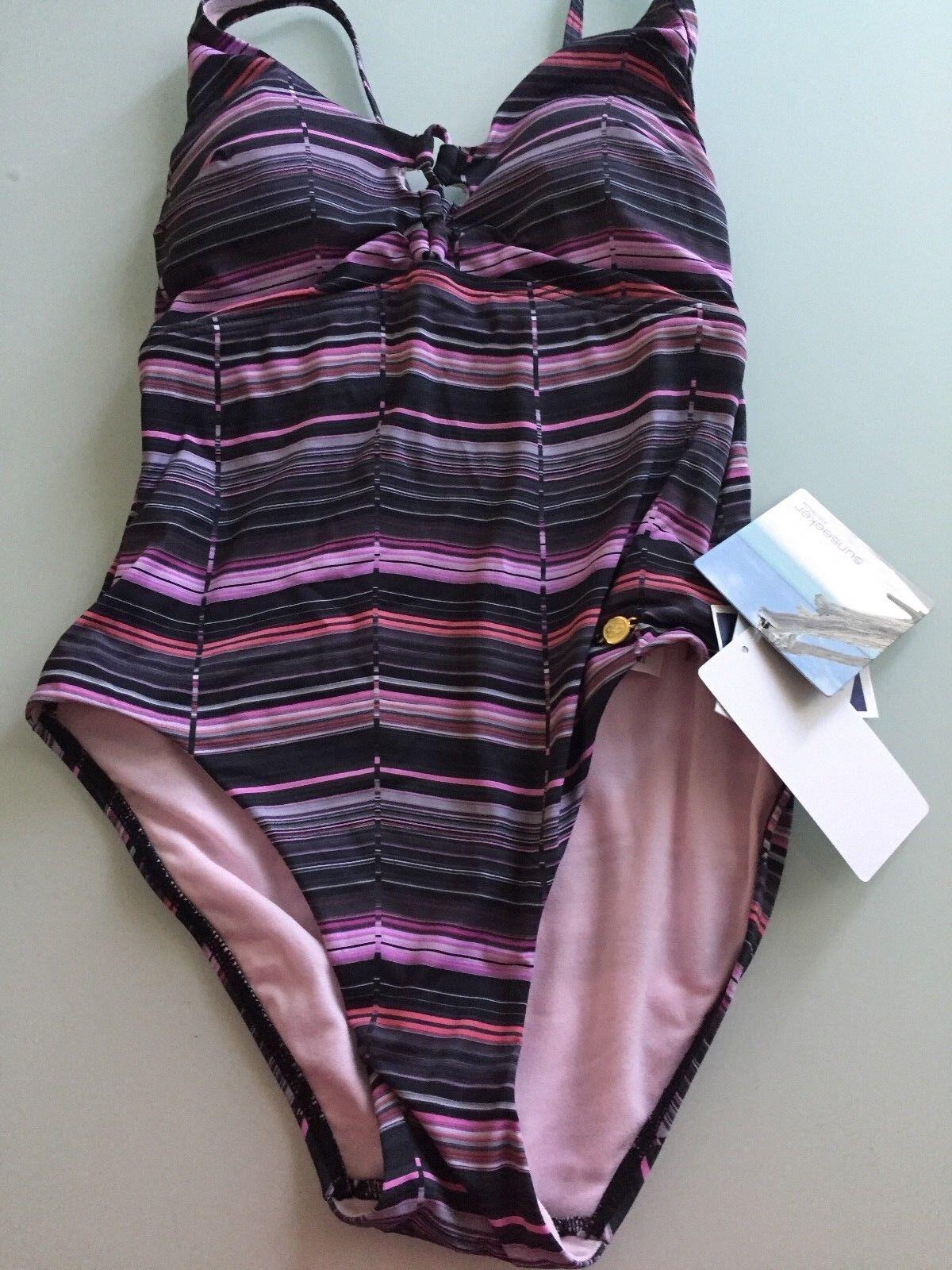 NWT Sunseeker Women Swim Suit Size 4 USAstyle 1180072. Multi purple color.  New