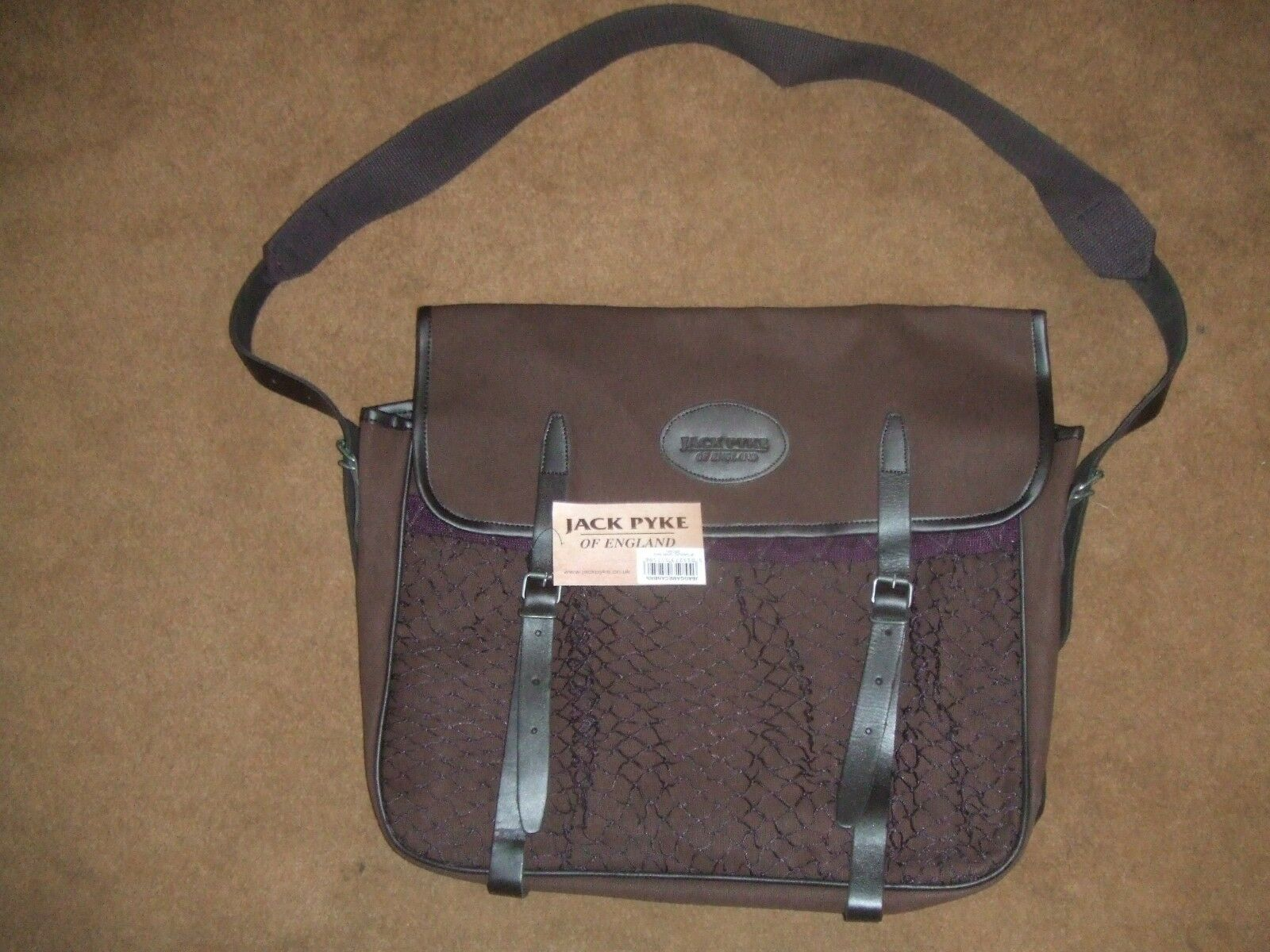 TRADITIONAL ENGLISH braun CANVAS & LEATHER NET FRONTED HUNTING GAME BAG