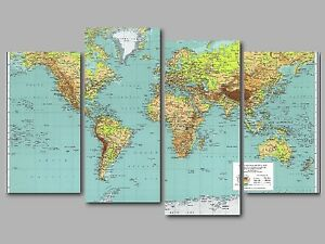 World map atlas globe xl 4 panel split canvas picture wall art ebay image is loading world map atlas globe xl 4 panel split gumiabroncs Gallery