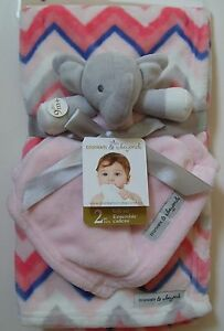 Blankets & Beyond Pink Gray Elephant Nunu Lovey Chevron Baby Blanket Gift Set