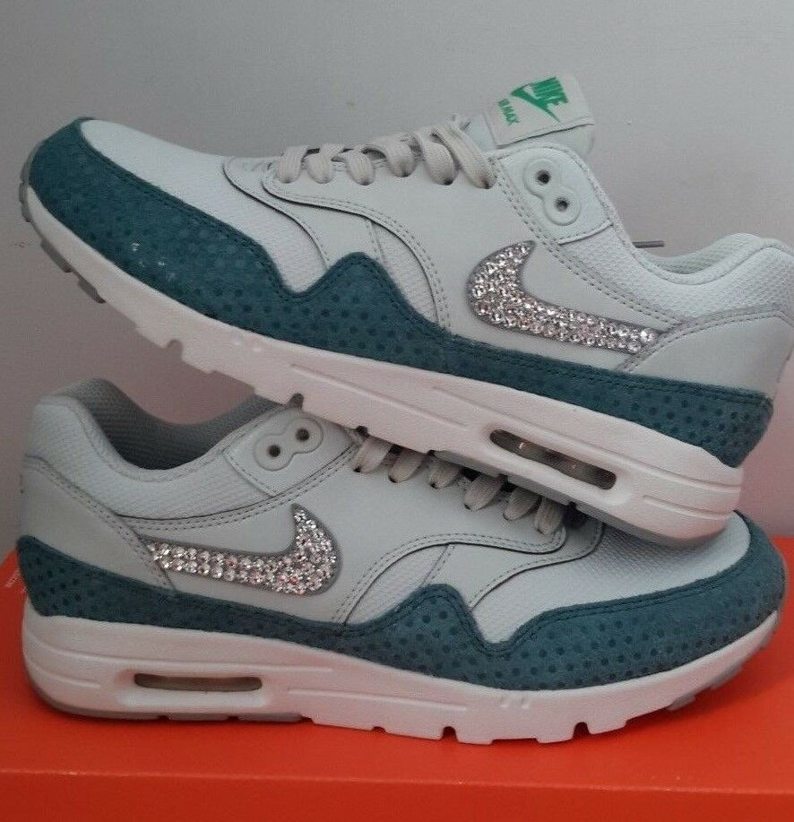 NEW NIKE W AIR MAX 1 ULTRA ESSENTIALS ATHLETIC SHOES 704993 006 BLUE SWAROVSKI 7