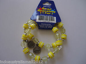 1 Pair of Girls Jewellery Stretchable Bracelets with Yellow Plastic Beads