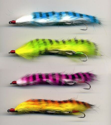 Trout Flies Rainbow Snake Flies x 4 Size 8 UK Tied Trout Flies: code 422a