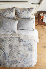New 3 PC Anthropologie Catamarca Queen Duvet Shams Set Jacquard Grey Wildflower