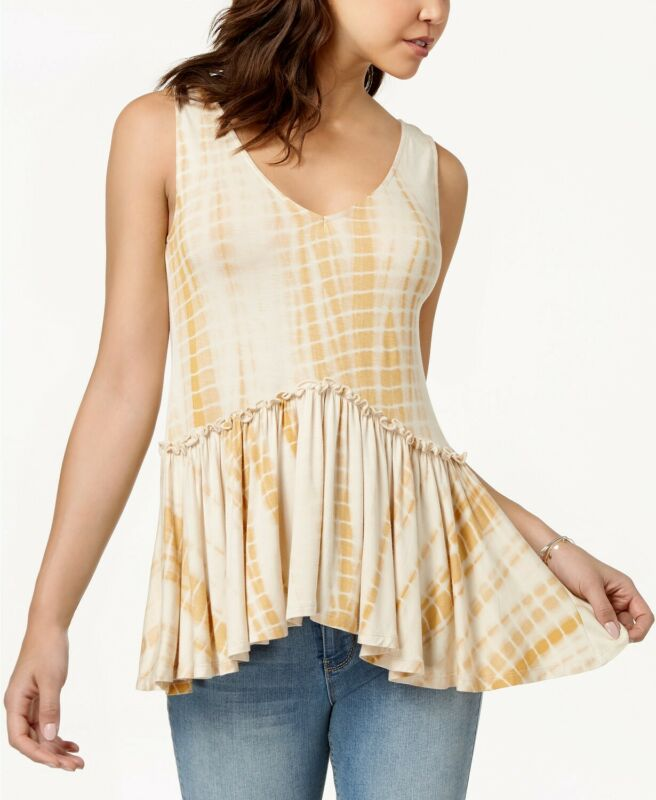 Analytical American Rag Juniors' Lace-up Peplum Top Egret Size Large