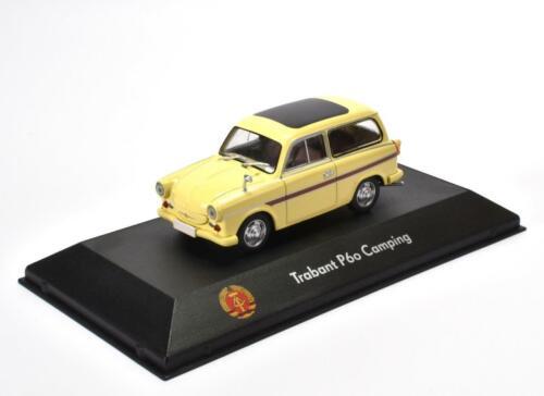 Trabant P60 Camping Fertigmodell in Displayvitrine im Maßstab 1:43