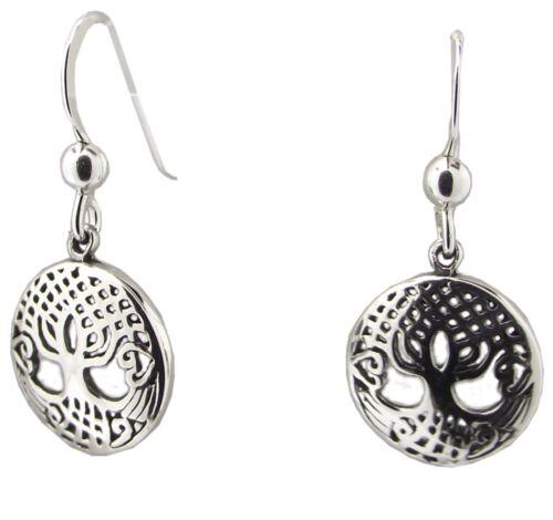 925 Sterling Silver TREE OF LIFE EARRINGS 26mm Drop Dangle Pair Celtic Ladies