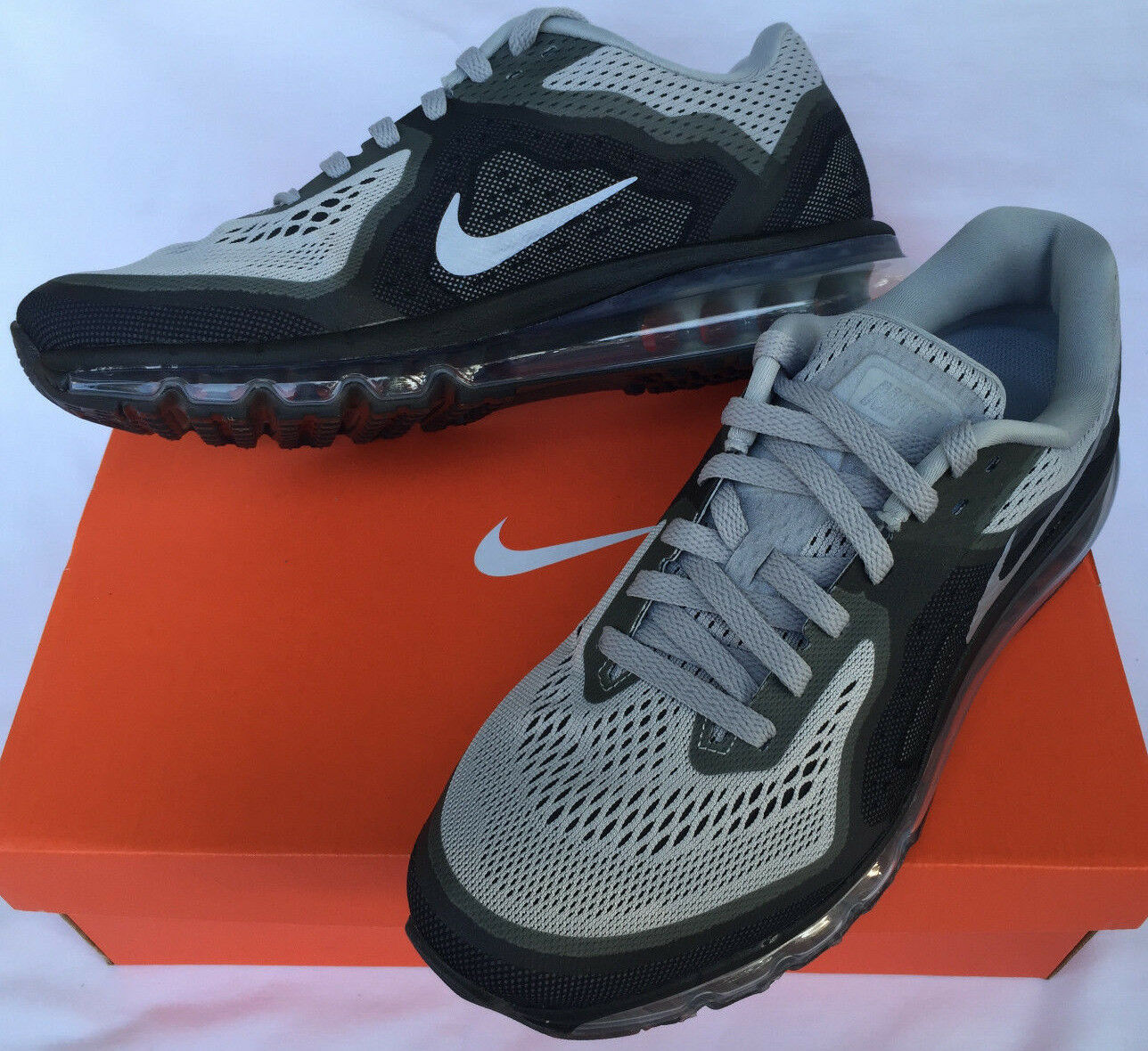 Nike Air Max 2014 Wolf Grey 621077-010 Silver Marathon Running Shoes Uomo 8.5
