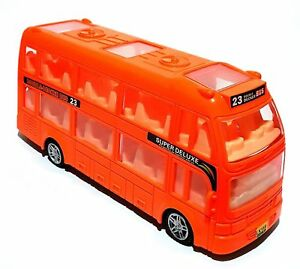 Kinder-Spielzeug-Doppeldecke-Reisebus-Bus-Auto-LED-Licht-amp-Musik-Selbstfahrend