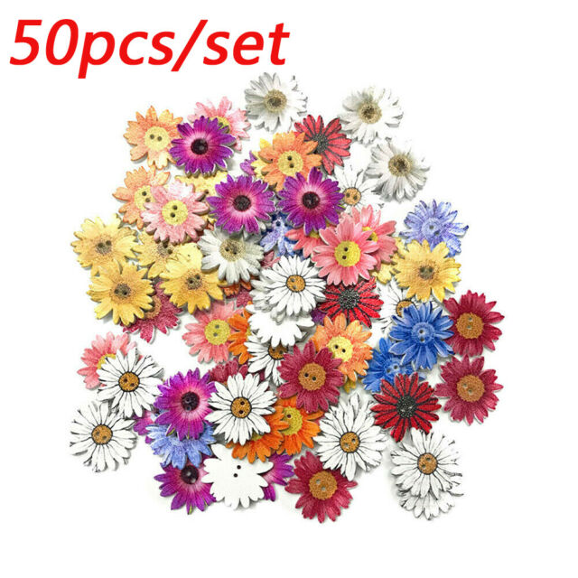 100 x 20mm 2 Holes wood buttons sewing flowers knitting scrapbooking