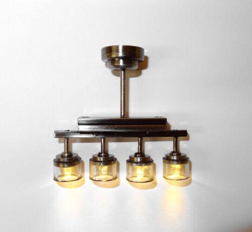 Dollhouse Modern Four Light Chandelier Platinum LED Battery Lighting Miniature