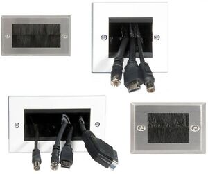 DOUBLE-GANG-BRUSH-WALL-PLASMA-LCD-TV-OUTLET-SOCKET-CABLE-ENTRY-PLATE-STEEL-PLATE