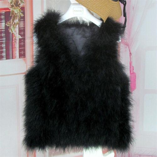 Women/'s 100/% Real Genuine Ostrich Feather Fur Vest Coat Gilet Parka Outwear New
