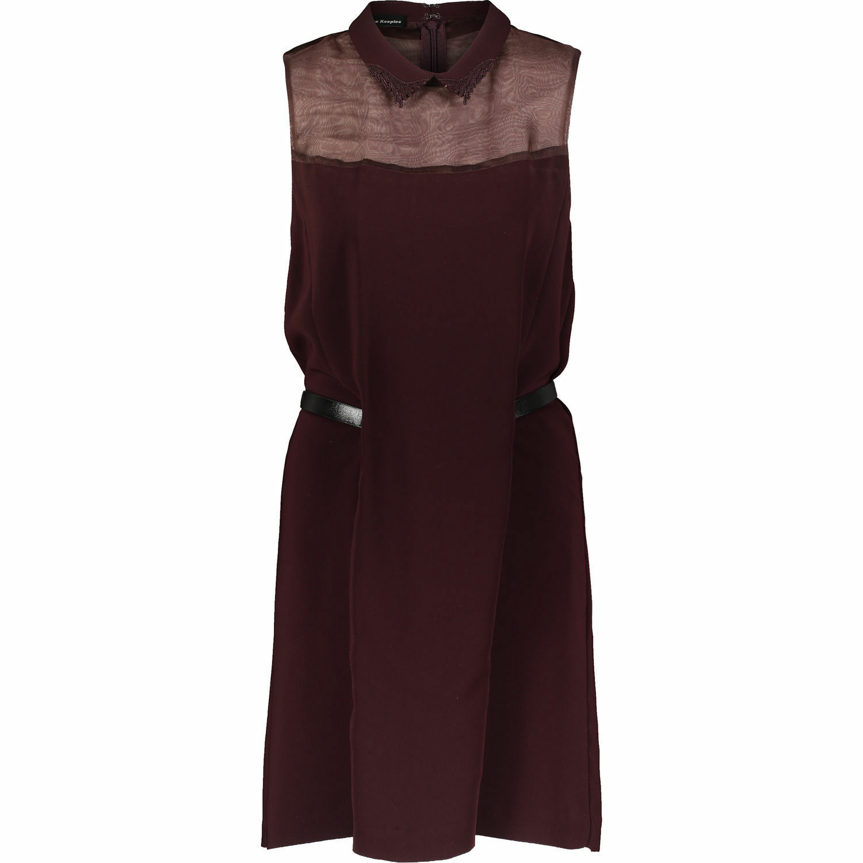 THE KOOPLES Woherren Burgundy Silk Detail  Dress UK16-XL
