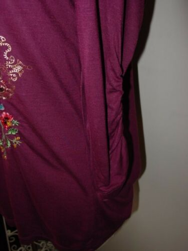 shirt Lee Perlée Tee Brodée Sz Femme Labyrinthe Aubergine Violet Krista Top S dXpWZS