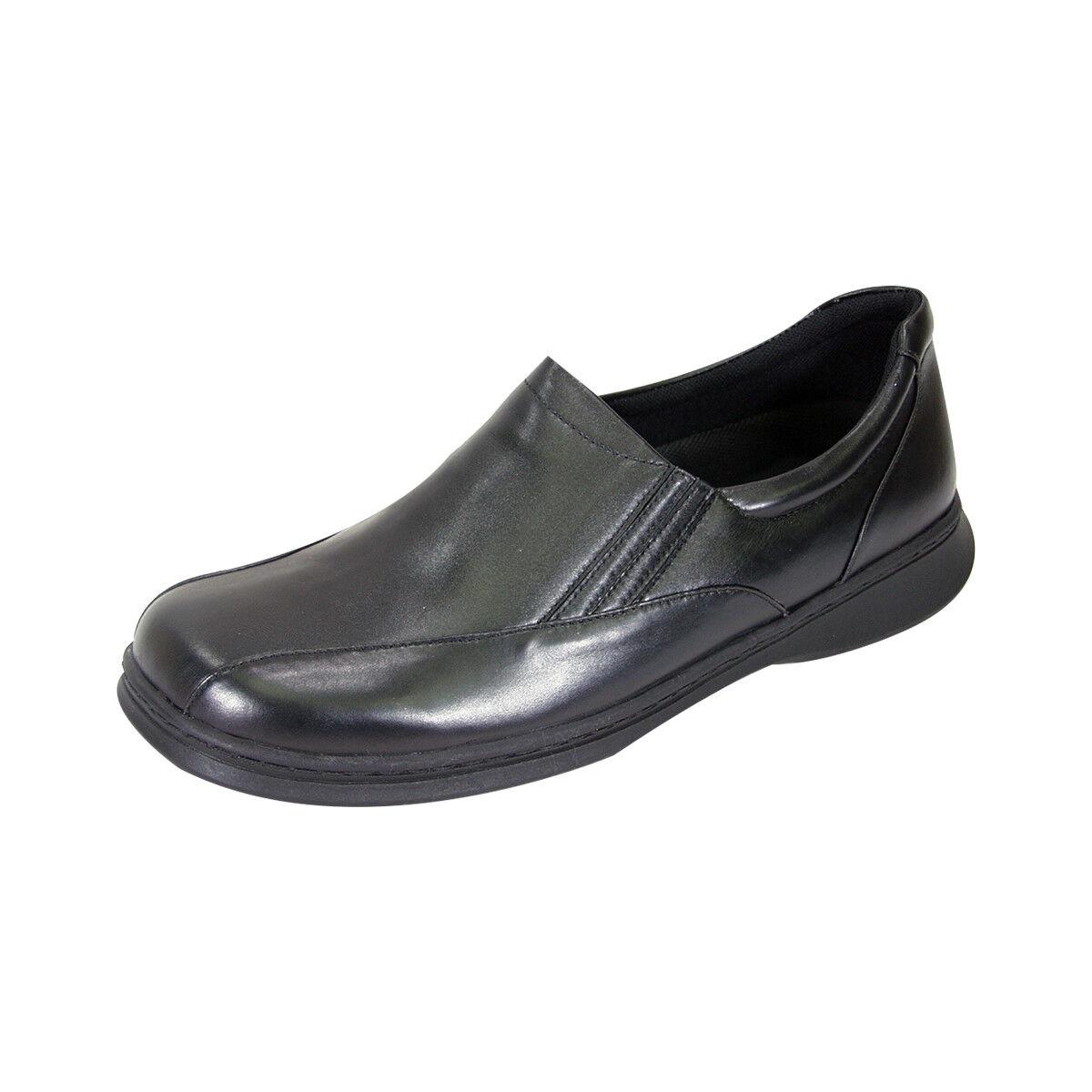 24 HOUR COMFORT Blaire Damens Wide Width Durable Comfort Slip-On Leder Schuhes
