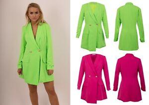 New-Women-039-s-Lime-Surplice-Collared-Long-Sleeves-Chic-Look-Blazer-Dress-UK-6-12