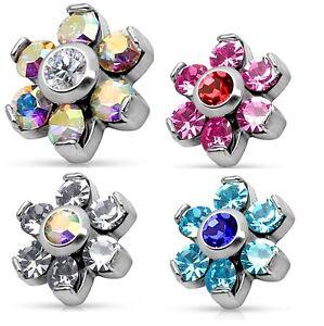 New-Surgical-Steel-CZ-Crystal-Gem-Set-Flower-Dermal-Anchor-Head-Top-Rainbow-Pink