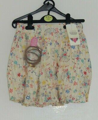 Fiducioso Bnwt Cute Cream Floral Belted Skirt, Size 9-10 Yrs, By Yumi