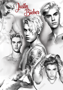 200 GSM GLOSS PRINT B/&W WALL ART POSTER A4 or A3 SIZE JUSTIN BIEBER POSTER