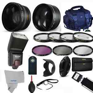 Professional Flash / Lens / Accessory Kit for Canon EOS Rebel T5 T5I PRO KIT HD