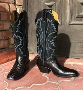 9de95c6d780 Handmade Genuine Black Python Belly Cowboy Boots by CABOOTS Size 4.5 ...