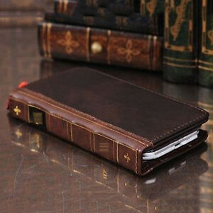 Retro-Leather-Vintage-Book-Flip-Wallet-Card-Case-Cover-For-Samsung-Galaxy-Phones