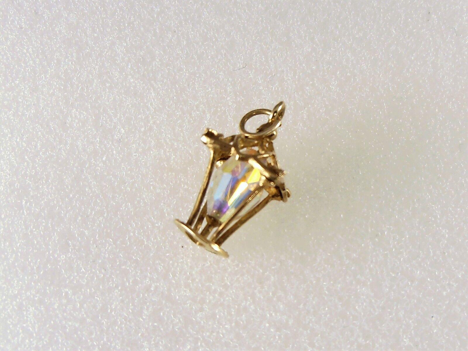 9ct CRISTALLO CRISTALLO CRISTALLO oro PENDENTE LANTERNA o Ciondolo altezza 1.9cm 1.5gms di seconda mano 6b4166