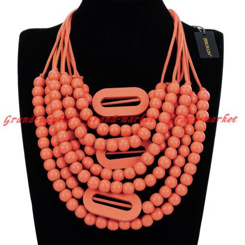 Fashion Jewelry Chain Wood Beads Collar Cluster Statement Pendant Bib Necklace